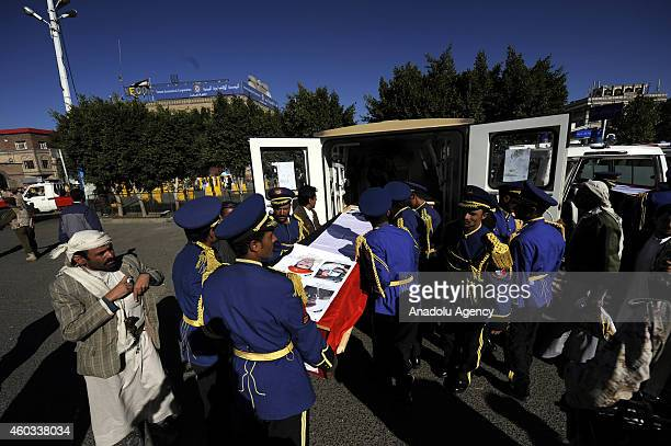 Funeral ceremony held for 7 of the soldiers killed in recent Hadhramaut attack at Shuhada Mosque in Sanaa Yemen on December 11 2014