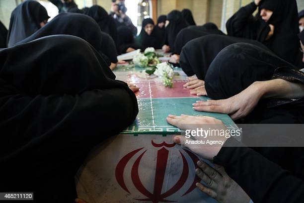 Funeral ceremony of three soldiers killed during the IranIraq War prolonged military conflict between Iran and Iraq during the 1980s is held in...