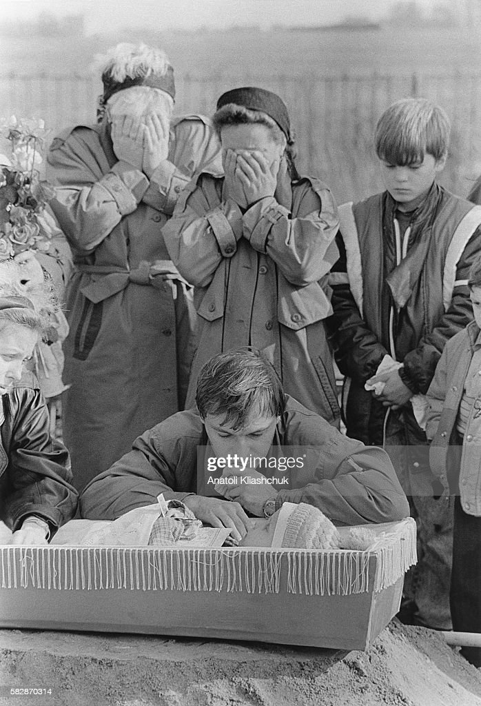 Funeral for Andrei aged 3 who died of cancer in May 1995