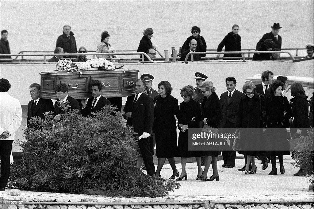 Funeral Of Aristote Onassis - Funeral Cortege Led By <a gi-track='captionPersonalityLinkClicked' href=/galleries/search?phrase=Christina+Onassis&family=editorial&specificpeople=206928 ng-click='$event.stopPropagation()'>Christina Onassis</a> In Greece On March 18, 1954