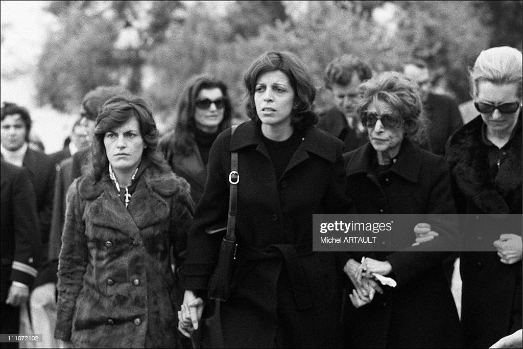 Funeral Of Aristote Onassis - Jackie, <a gi-track='captionPersonalityLinkClicked' href=/galleries/search?phrase=Christina+Onassis&family=editorial&specificpeople=206928 ng-click='$event.stopPropagation()'>Christina Onassis</a> And Family In Greece, 21st March 1975.