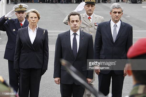 Funeral of French soldier Gilles Polin in Bayonne France on March 12 2008French Interior Minister Michele AlliotMarie French President Nicolas...