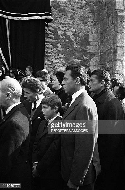 Funeral of Jean Cocteau Jean Marais and Jean Cocteau's family in Milly la Foret France on Octorber 16 1963