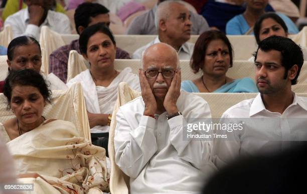 Funeral of Pramod Mahajan LK Advani at the coffin of the late Pramod Mahajan at the family residence in Worli on Thursday Rekha Mahajan and Rahul...