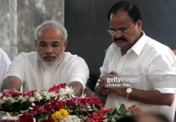Funeral of Pramod Mahajan Narendra Modi and Venkaiah Naidu pay homage to Pramod Mahajan at Purna bldg