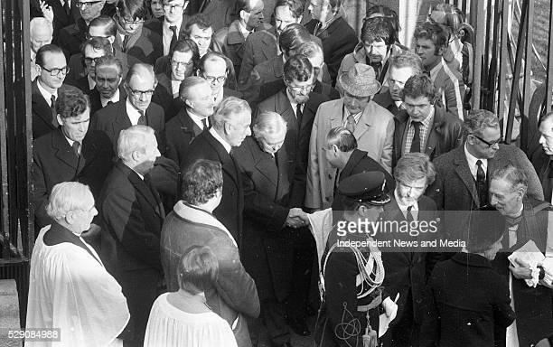 Funeral of President Erskine Childers state funeral in St Patrick's Cathedral Dublin Dean Victor Griffin greeting the British Prime Minister Harold...