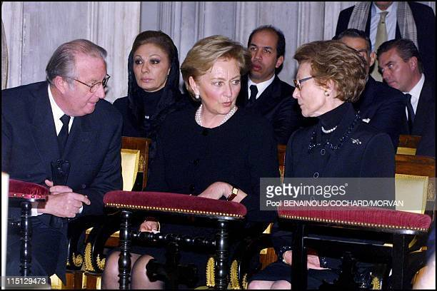 Funeral of Queen Marie Jose of Italy in Hautecombe France on February 02 2001 King Albert Queen Paola of Belgium and Josephine Charlotte of...
