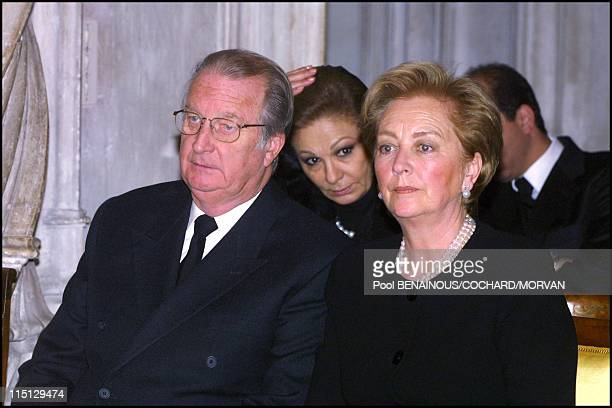 Funeral of Queen Marie Jose of Italy in Hautecombe France on February 02 2001 King Albert and Queen Paola of Belgium and Farah Dibah