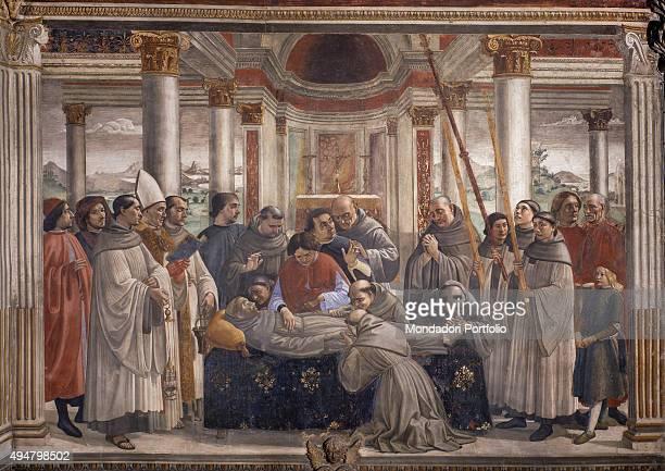 Funeral of St Francis by Domenico Ghirlandaio 14821486 15th Century fresco Italy Tuscany Florence Church of Santa Trinita Sassetti Chapel Whole...