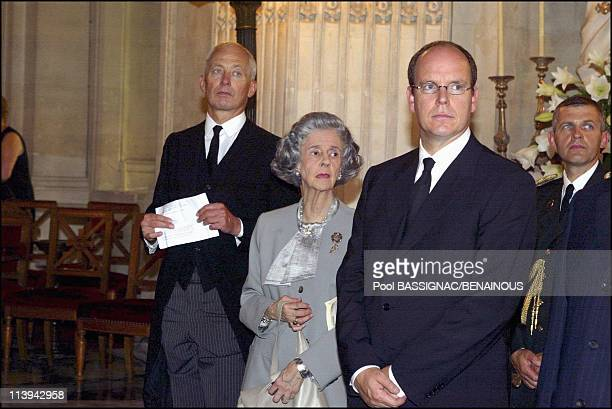 Funeral of the Countess of Paris in the Royal Chapel of Dreux France On July 11 2003Queen Fabiola of Belgium Prince Albert of Monaco