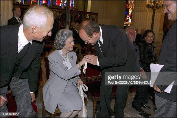 Funeral of the Countess of Paris in the Royal Chapel of Dreux France On July 11 2003Queen Fabiola and Prince Albert