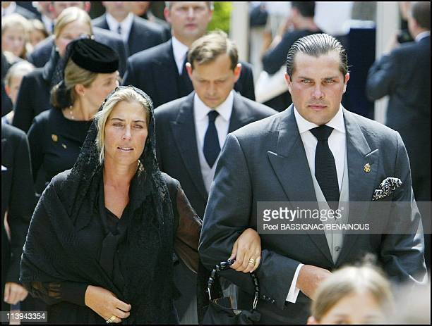 Funeral of the Countess of Paris in the Royal Chapel of Dreux France On July 11 2003Prince CharlesPhilippe of Orleans and one of his sister Clotilde