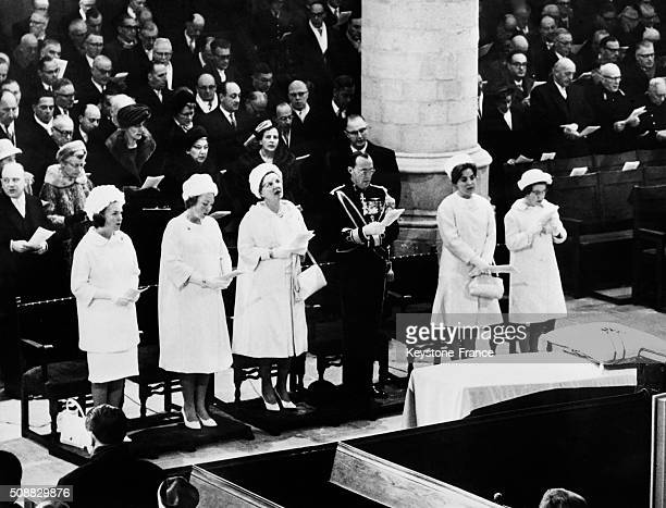 Funeral Of the Former Queen Wilhelmine Of The Netherlands In The Church Of Het Loo Castle Attended By European Monarchs All Wearing White Suits in...