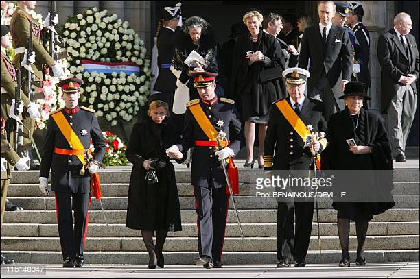 Funeral of the Grand Duchess Josephine Charlotte of Luxembourg in Luxembourg city Luxembourg on January 15 2005 Grand Duke Henri wife Maria Teresa...