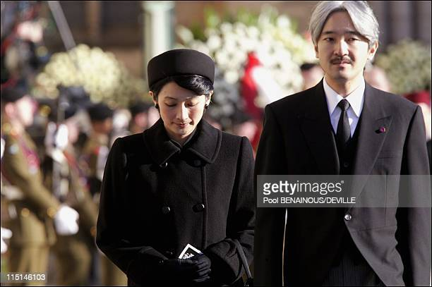 Funeral of the Grand Duchess Josephine Charlotte of Luxembourg in Luxembourg city Luxembourg on January 15 2005 Prince and Princess Akishino