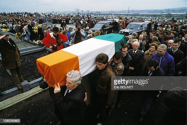 Funeral of the Ira activists in bombing at Grenada cemetery in Belfast United Kingdom on March 16th 1988