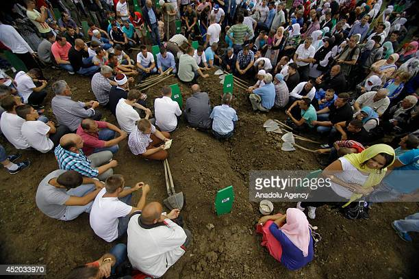 Funeral prayer is performed for the 175 newly identified Srebrenica victims during the mass burial ceremony at SrebrenicaPotocari Memorial and...