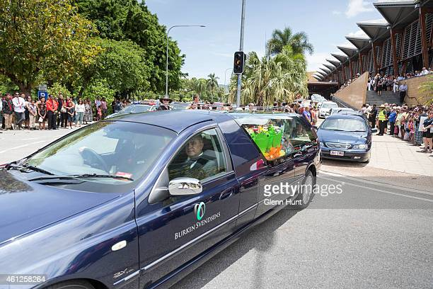 A funeral procession leaves for a funeral at Cairns Cemetery for eight children that were killed in Cairns on January 10 2015 in Cairns Australia...