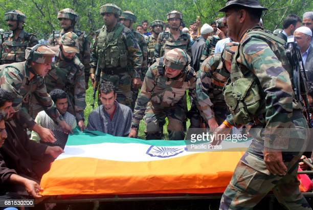 Funeral procession of lieutenant rank army officer Umer Fayaz Parry resident of Sursunoo Yaripora area of Kulgam district who was found killed in...