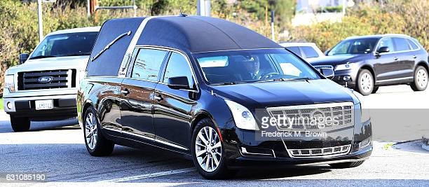 A funeral procession transports Debbie Reynolds and Carrie Fisher to their joint Memorial and Funeral at Forest Lawn Cemetery on January 6 2017 in...