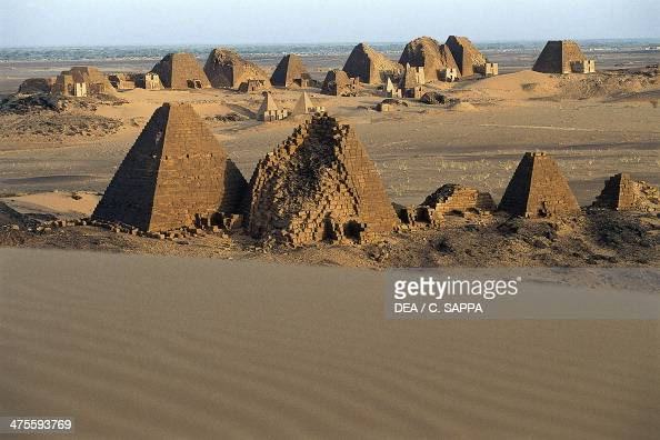 Funeral pyramids and temples from the Kingdom of Kush necropolis on the Island of Meroe Sudan Meroitic civilisation
