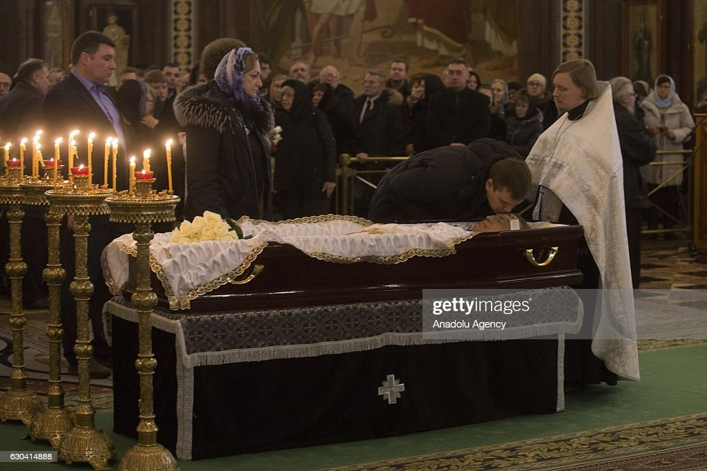 Funeral service for Russia's ambassador to Turkey Andrey Karlov, is held in Christ the Savior Cathedral in Moscow, Russia, on December 22, 2016. Karlov was delivering a speech at the opening ceremony of a photo exhibit when an armed assailant 22-year-old riot police officer Mevlut Mert Altintas opened fire on him. Assailant has been killed by the Turkish police during a fire exchange at the crime scene.