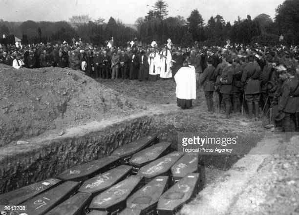 Funeral service held at Cobh County Cork for some of the victims of the 'Lusitania' disaster a passenger liner sunk by enemy action