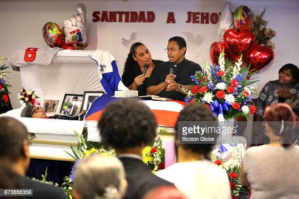 A funeral service is held in Brcokton MA on Apr 26 2017 for Brockton High School student Isaias Caban who was killed last week in a car crash in...