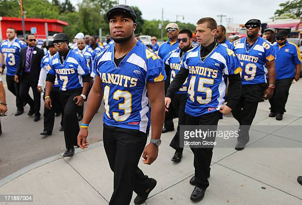A funeral service was held for Odin Lloyd at the Holy Spirit Church in Mattapan His teammates the Bandits wear their game jerseys as they file into...