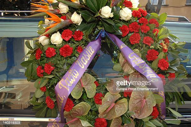 Funeral wreath given by Paolo Vasile during the funeral for Jose Luis Mila Sagnier Count of Montseny at Santa Magdalena Church on March 1 2012 in...