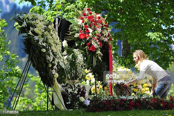 Funeral wreaths are arranged prior to Gunter Sachs' funeral service held at Mauritiuskirche on May 13 2011 in Saanen Switzerland Gunter Sachs...