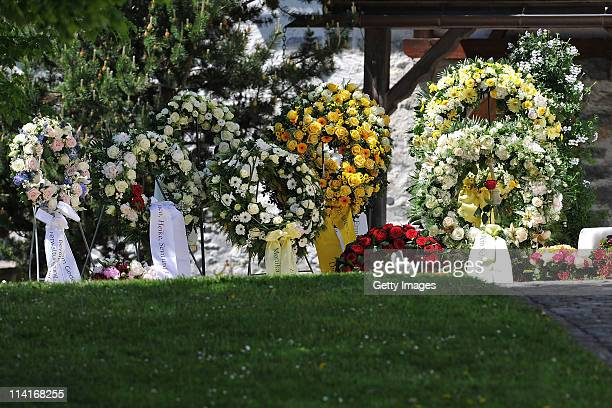Funeral wreaths are arranged prior to Gunter Sachs' funeral service held at Mauritiuskirche on May 13 2011 in Saanen Switzerland Gunter Sachs...