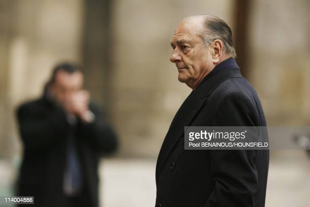 Funerals of Philippe Seguin at the Invalides In Paris France On January 11 2010Jacques Chirac