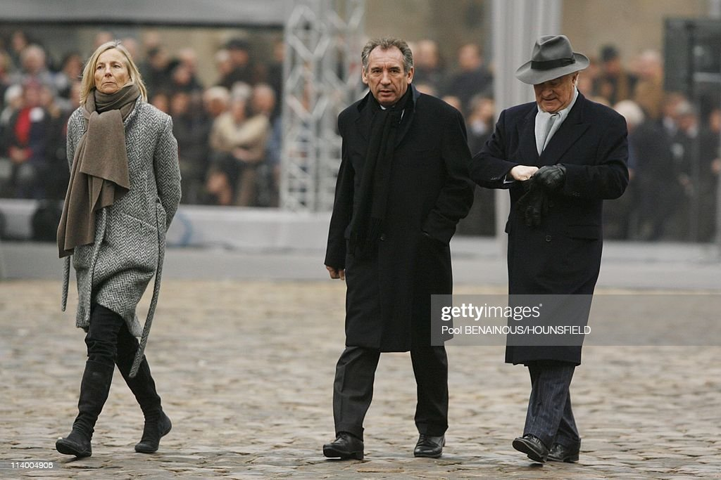 Funerals of <a gi-track='captionPersonalityLinkClicked' href=/galleries/search?phrase=Philippe+Seguin&family=editorial&specificpeople=628947 ng-click='$event.stopPropagation()'>Philippe Seguin</a> at the Invalides In Paris, France On January 11, 2010-<a gi-track='captionPersonalityLinkClicked' href=/galleries/search?phrase=Marielle+de+Sarnez&family=editorial&specificpeople=634936 ng-click='$event.stopPropagation()'>Marielle de Sarnez</a>, <a gi-track='captionPersonalityLinkClicked' href=/galleries/search?phrase=Francois+Bayrou&family=editorial&specificpeople=551791 ng-click='$event.stopPropagation()'>Francois Bayrou</a>.