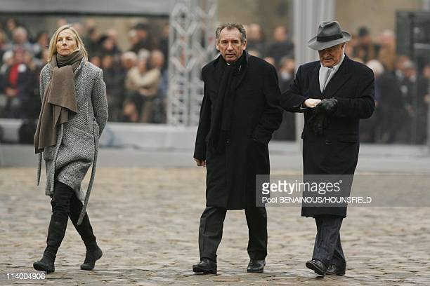 Funerals of Philippe Seguin at the Invalides In Paris France On January 11 2010Marielle de Sarnez Francois Bayrou