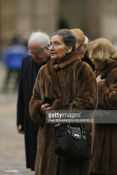 Funerals of Philippe Seguin at the Invalides In Paris France On January 11 2010Simone Veil