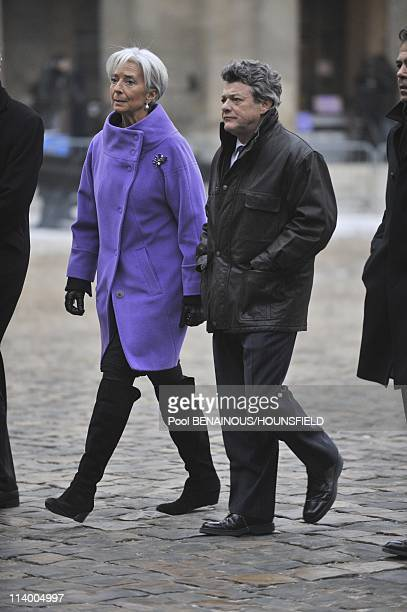 Funerals of Philippe Seguin at the Invalides In Paris France On January 11 2010Christine Lagarde JeanLouis Borloo