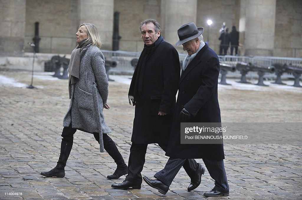 Funerals of Philippe Seguin at the Invalides in Paris In Paris, France On January 11, 2010-<a gi-track='captionPersonalityLinkClicked' href=/galleries/search?phrase=Marielle+de+Sarnez&family=editorial&specificpeople=634936 ng-click='$event.stopPropagation()'>Marielle de Sarnez</a>, <a gi-track='captionPersonalityLinkClicked' href=/galleries/search?phrase=Francois+Bayrou&family=editorial&specificpeople=551791 ng-click='$event.stopPropagation()'>Francois Bayrou</a>.