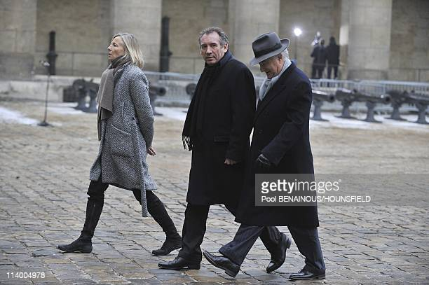 Funerals of Philippe Seguin at the Invalides in Paris In Paris France On January 11 2010Marielle de Sarnez Francois Bayrou