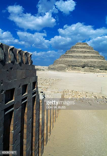 Funerary Complex of Djoser with the step pyramid in the background Saqqara Memphis Egyptian civilisation Old Kingdom Dynasty III
