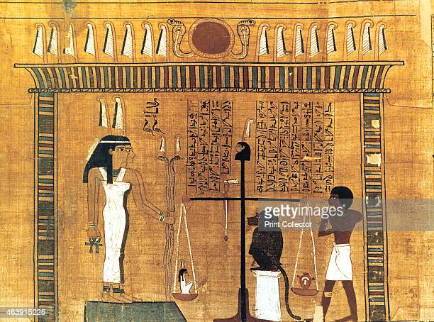 Funerary papyrus Ancient Egyptian 18th Dynasty 15501293 BC Weighing the heart of the deceased in a balance The baboon is one form of Thoth inventor...