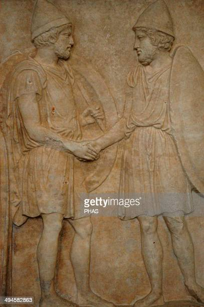 Funerary stele of Sosias and Kephisodoros Detail of two soldiers 410 BC Pentelic marble Found at Athens Greece Pergamon Museum Berlin Germany