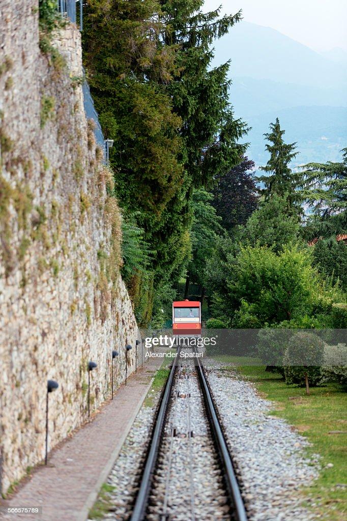 Funicular railway in Bergamo, Lombardy, Italy