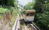 Short funicular railway at the foot of the Swiss alps near Montreux