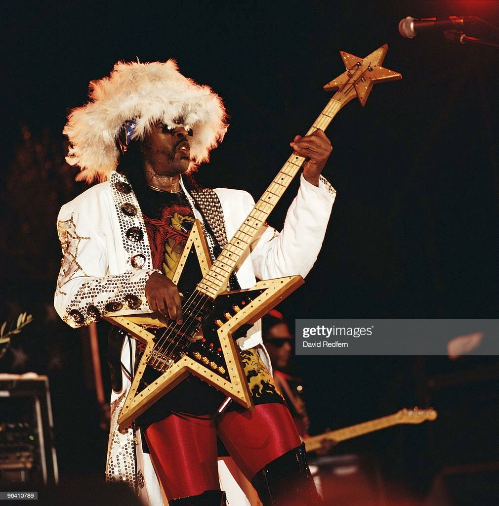 Funk bass player <a gi-track='captionPersonalityLinkClicked' href=/galleries/search?phrase=Bootsy+Collins&family=editorial&specificpeople=221725 ng-click='$event.stopPropagation()'>Bootsy Collins</a> performs on stage at Nice Jazz Festival in 1998 in France. Image is part of David Redfern Premium Collection.