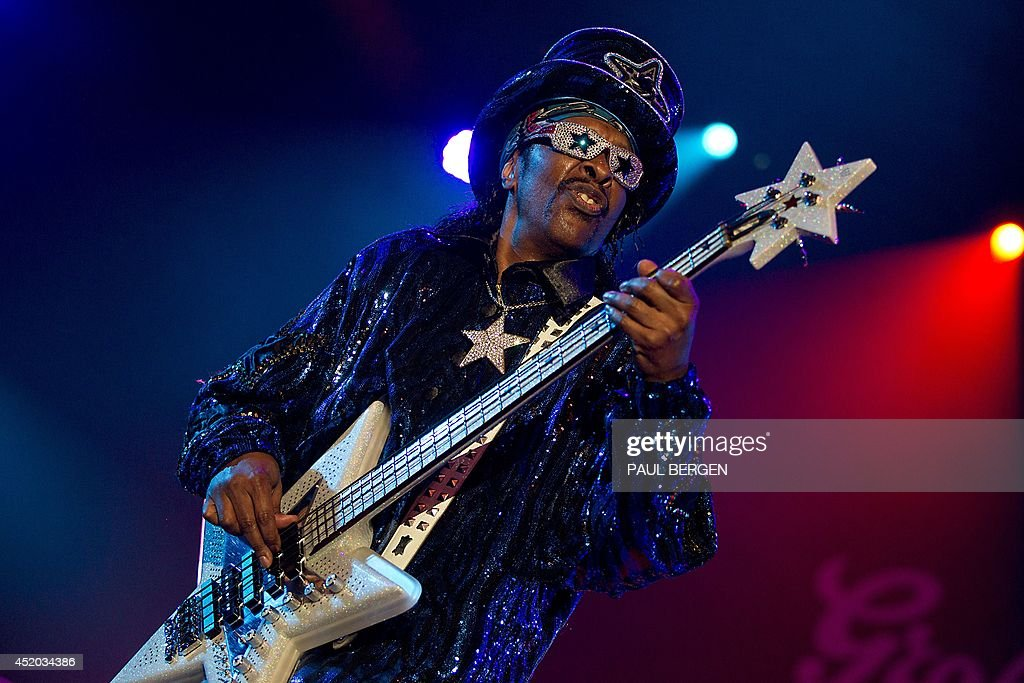 US funk legend and former bass player of Funkadelic, Bootsy Collins, performs on stage during the first day of the North Sea Jazz Festival in Rotterdam, on July 11, 2014.