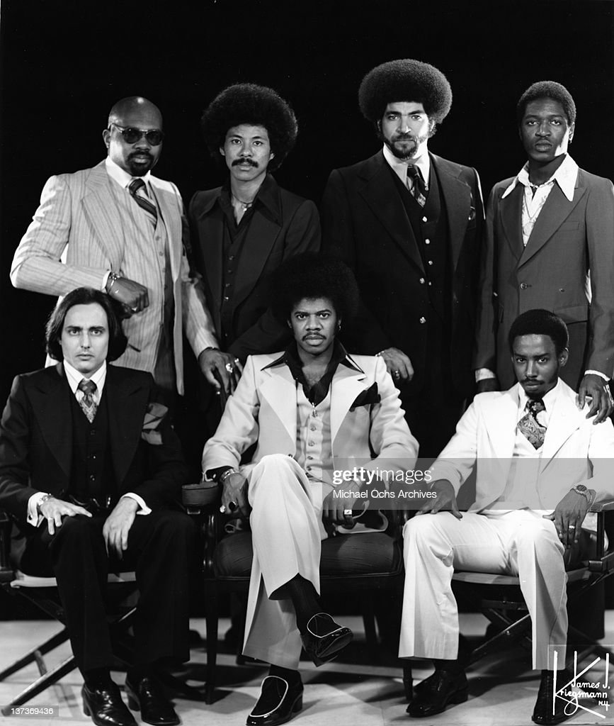 Funk musician Jimmy Castor (bottom center) poses for a portrait session with his group 'The Jimmy Castor Bunch' in circa 1977 in New York City, New York. Gerry Thomas (top left), Lenny Fridie, Jr. (top, 2nd from right), Paul Forney (bottom left), Ellwood Henderson, Jr.