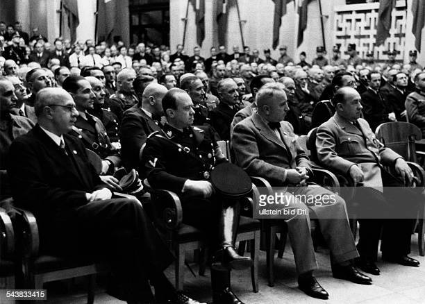 Funk Walther Politician NSDAP Germany*18081890 during the speech of Hermann Goering listening in the audience at the the event of his promotion to...
