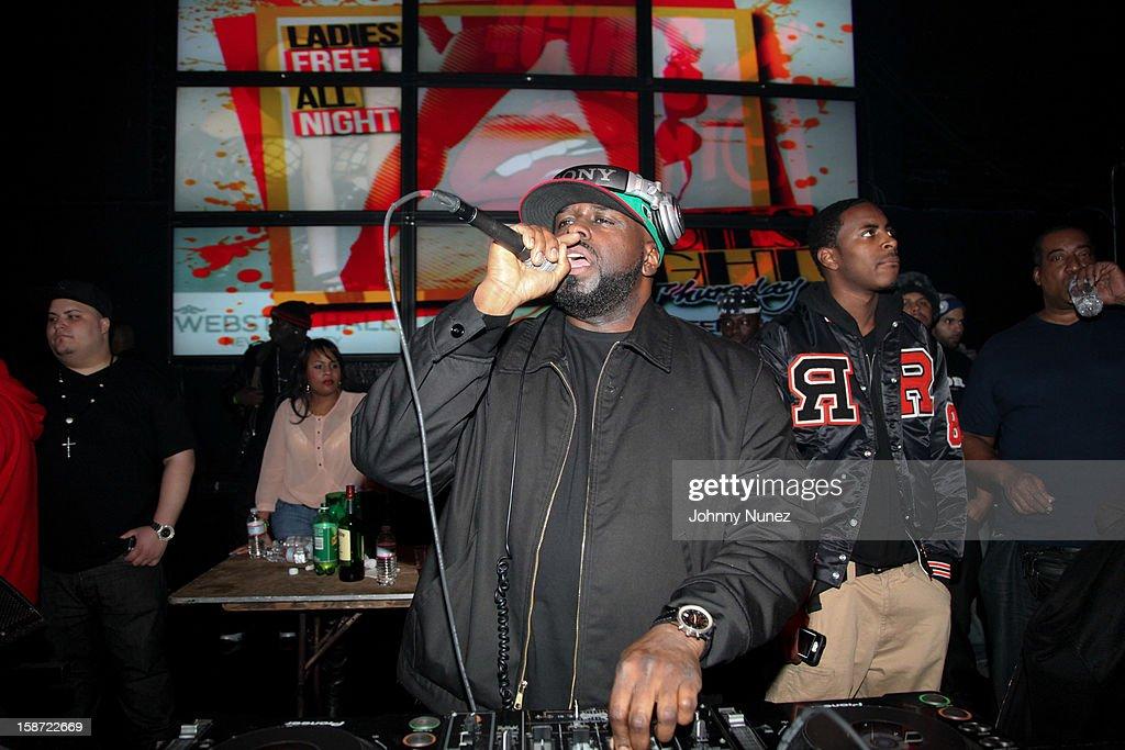 DJ Funkmaster Flex spins at Nicki Minaj's Christmas Extravaganza at Webster Hall on December 25, 2012 in New York City.