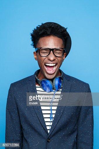 Funky afro american guy screaming